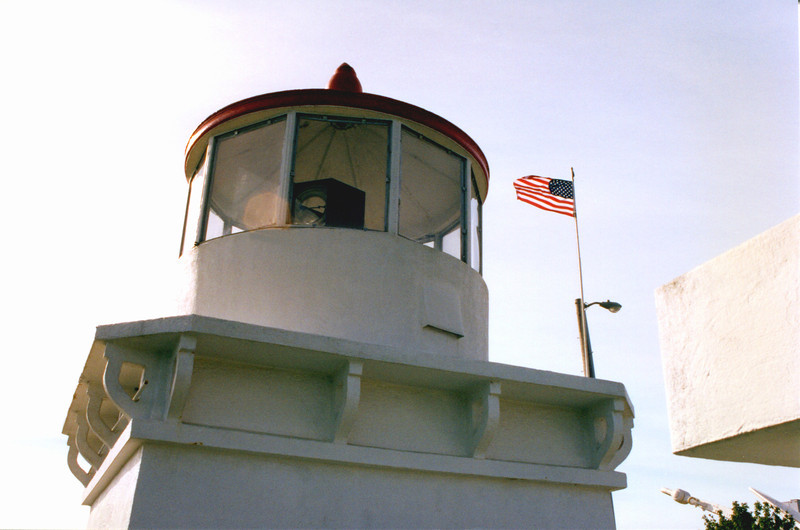 In 1948 for $30,000 the Civic Club built an exact 25 foot concrete replica of the Trinidad Head Light at a site 170 feet above the Bay.  They installed the 4th Order lens into the new lantern of the replica.