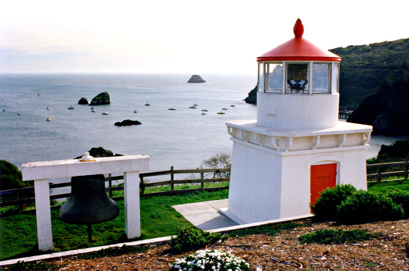The small tower at Trinidad Head served maritime commerce for many years.  In 1942 after 71 years of using an oil lantern the lighthouse was electrified.  A modern optic replaced the 4th Order Fresnel lens in 1947 and the light was automated.  In addition a compressed air horn replaced a 4000 pound fog bell at this time.