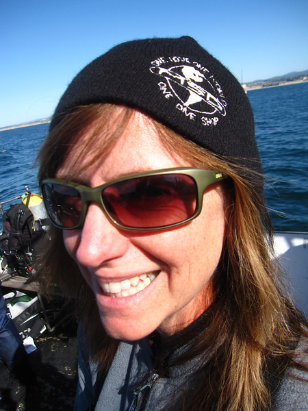 Cathy modeling a lovely Minnesota School of Diving cap....there is my plug for MSD:)