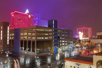 Snowstorm. Reno at night from Harrah's Hotel. Reno, NV, USA