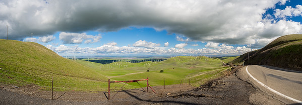 Panorama. Patterson Pass Wind Farm & Tracy, CA. Patterson Pass Road. Livermore, CA, USA