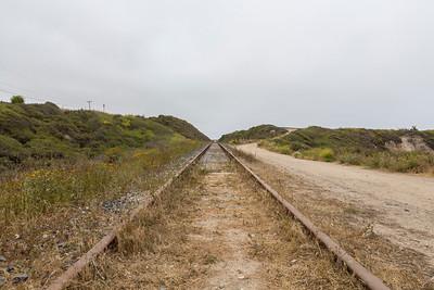 Railroad near Shark Fin Cove - Davenport, CA, USA  The beach is also known as Shark Tooth Cove, Shark Tooth Beach, Shark Fin Beach, and Davenport Cove.