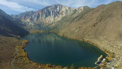Convict Lake with wildfire smoke
