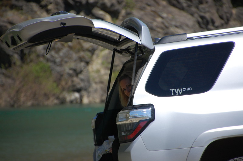 Lunch out of the back of the 4Runner on a river bar of the Eel River near Red Crest.  Most rivers in the area are very wide and have sand bars in the middle.  These bars are accessible by 4WD and it's legal to drive, park, camp on them.