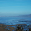 Humboldt Bay at low tide, on a foggy day, as seen from Table Bluff.