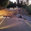 Earthquake ravaged road near Oroville.  I rode around on the left.
