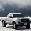 The Tacoma in the snow on Upper Bear River Road.
