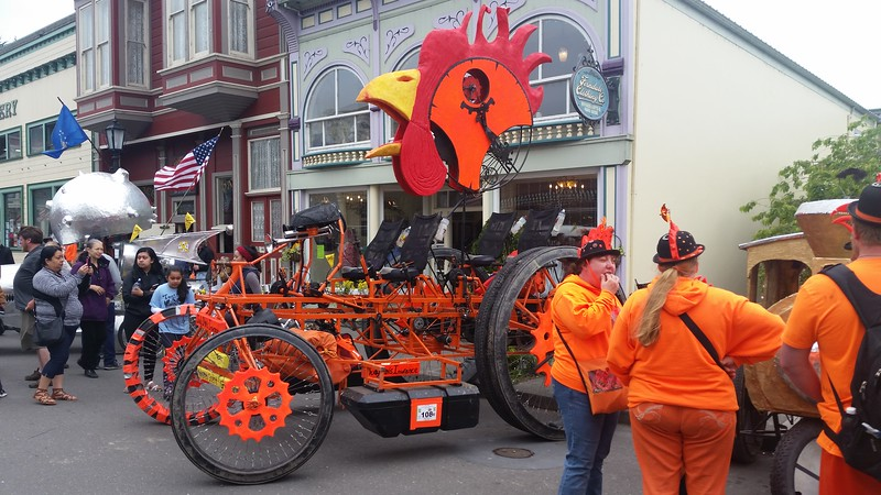 Kinetic sculptures at the finale of the race in Ferndale.