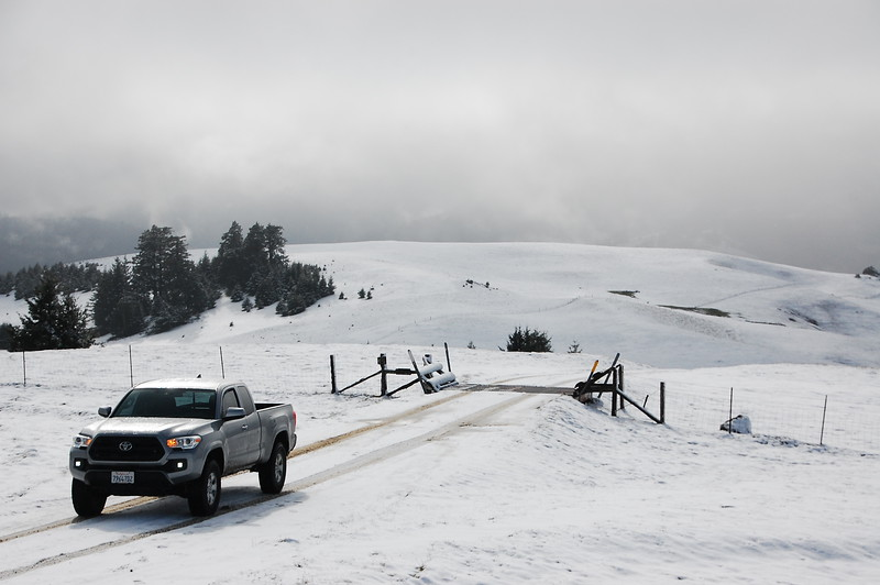 Snow and low clouds on top of Upper Bear River Road.