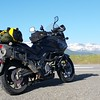 View of the Sierra-Nevada Mountains behind my loaded motorcycle.  On the way home from an 11 day trip to Ohio.