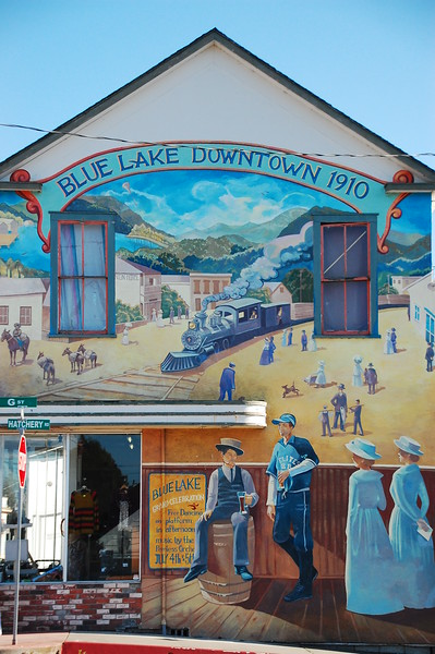 Mural in Blue Lake celebrating the railroad / lumber line heritage of the area