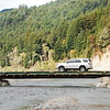 Humboldt County Road Dept installs this temporary bridge over the Eel River in the summer, they remove it in winter (rainy season) because it would be carried off by flooding.  It cuts 30 minutes off a trip to or from the small town of Shivley