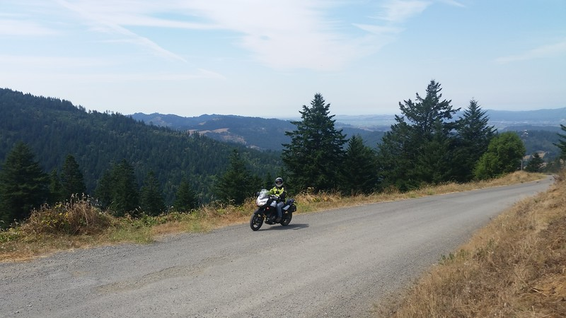 Tim rides my V Strom as I give him a 250 mile tour d'Humboldt