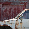This old Toyota is rusting away near a barn in Ferndale
