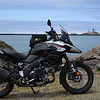 Crescent City lighthouse in the background, V-Strom in the foreground