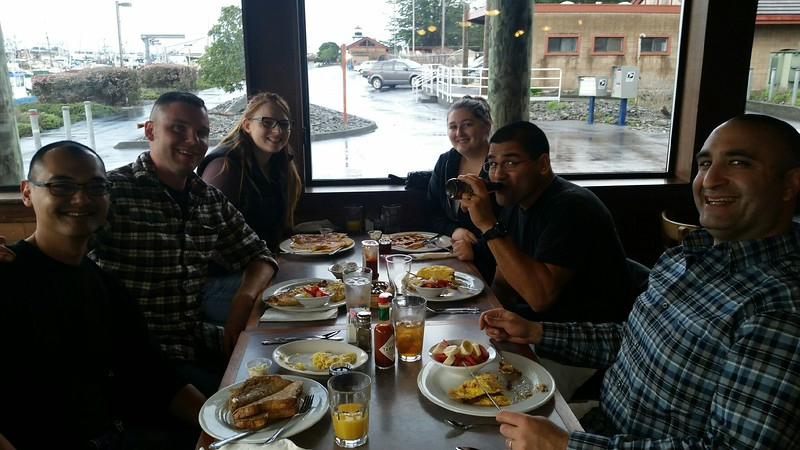 """Part of my EPD crew at a weekly breakfast we have after the shift ends.   L-R:  KC, Abraham aka """"Bram"""", Kylie, Julie, Ray aka """"Hollywood"""", me... a few days after this picture was taken, Bram would shoot a guy, and Ray would have a baby.  The circle of life, Eureka style."""