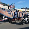 "Every year there is a race of ""kinetic sculptures"" from Arcata to Ferndale, over land and water.  These were at the post-finish party in Ferndale.  That's me on the motorcycle, if you can't tell.  (Meredith)"