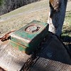 Cool old tool box, or maybe a welding rod box, just sitting on a stump at South Fork Mountain pass.  Nothing in it.
