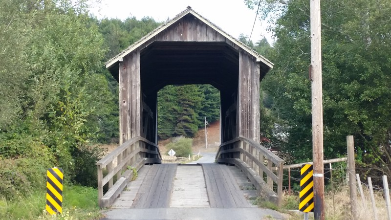 There's not a lot of covered bridges in California.  I found this one (one of two right near each other) south of Eureka off of Elk River Road.