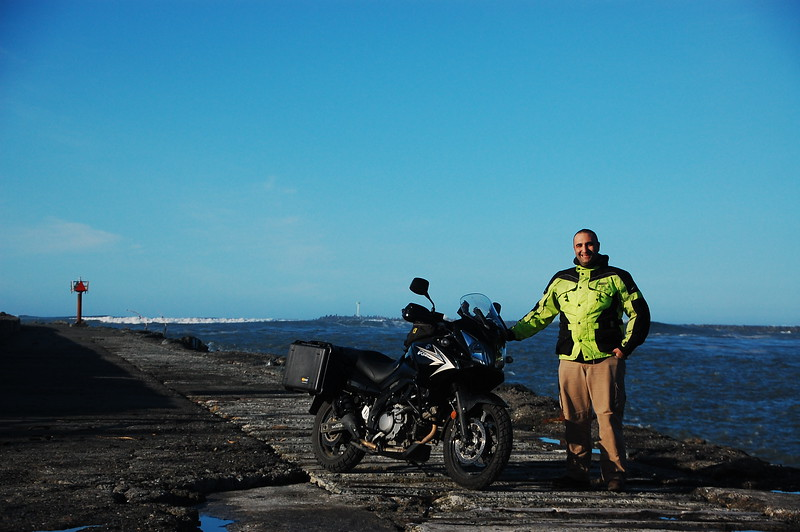 Riding along the South Jetty separating Humboldt Bay from the Pacific Ocean.