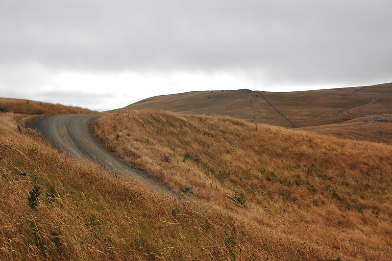 Lots of hills and curves on the one lane gravel Bear River Ridge Road.