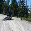 New motorcycle buddy Ben on NF 13... minor crash as the bike slid out from under him on some gravel.  No damage.