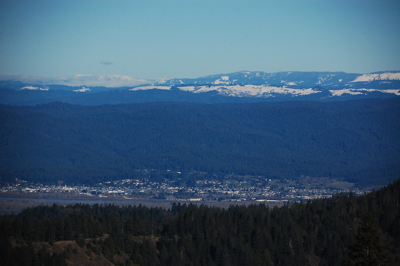 View of Fortuna and snowy mountains from Upper Bear River Road.