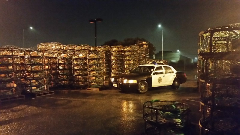 Cell phone shot of my cruiser, in the rain, in a parking lot near the ocean filled with 'crab pots' for crab fishing