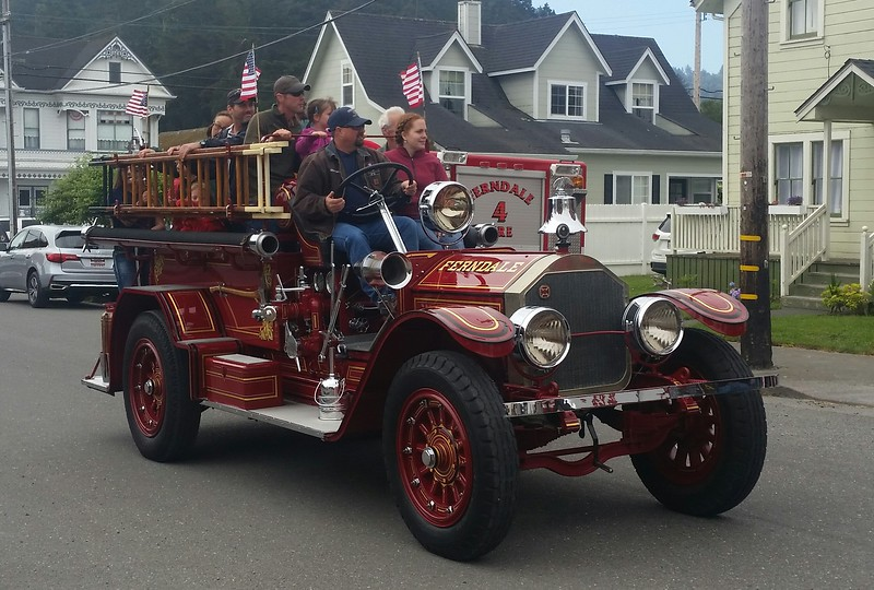 1923 fire engine, been owned by the Ferndale Fire Department since new.  It was restored 10 years ago.  Everything works.  They take kids for rides in it on July 4th every year.<br /> <br /> Notice the hand crank under the front bumper.  Starting it is an impressive ritual - adjust gas flow, adjust spark, set the brake, set neutral (or it will run you over), release compression, crank like a crazy person.