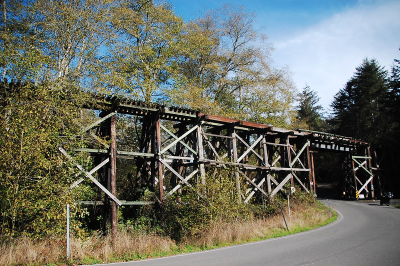 """Old railroad trestle for the 'Arcata and Mad River RR"""" near Blue Lake"""