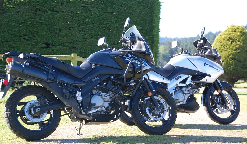 Back in the game!  Sold the motorcycle in Ohio and bought these two bikes in California - 2011 Suzuki V-Strom 650 (front) and 2003 Suzuki V-Strom 1000 (rear).  The 1000 has 138,000 miles on it!  It was cheap-cheap-cheap!