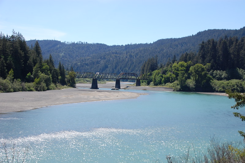 Eel RIver lazily winding through the valley.  Abandoned RR trestle crosses it near Pepperwood.