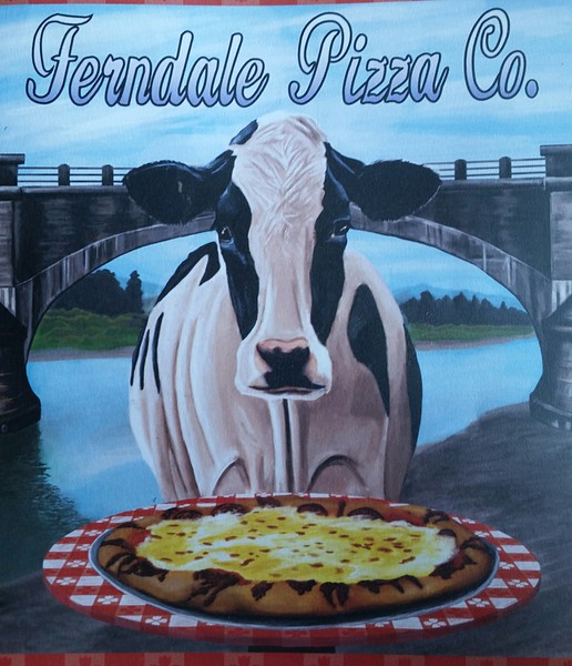 I assume the cow is representing the cheese / dairy aspect of the pizza, but nonetheless, I find this to be some cannibalistic shit.  Good pizza though!  The bridge in the background is one arch of the 7 span historic Fern Bridge, one of only 3 ways into Ferndale.  They all involve crossing the Eel River.