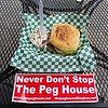 Burgers and free bumper stickers at The Peg House, Leggett