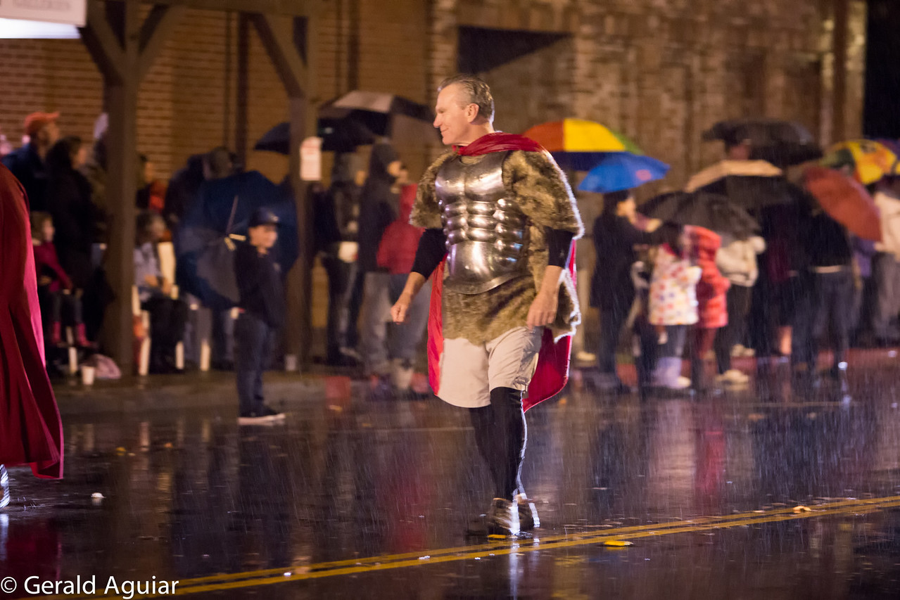 Not sure why this Roman soldier was so happy.  Notice how hard it was raining!