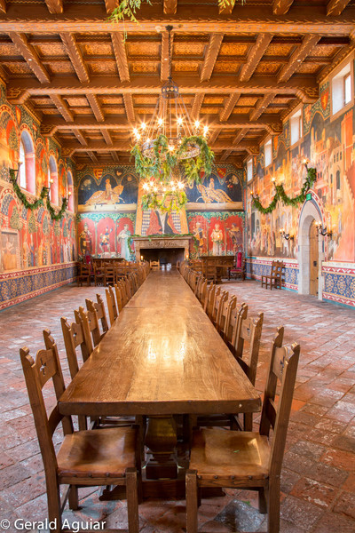 This is the great dining hall.  I really liked the detail of the wall paintings, wood ceiling, chandeliers, and the tile floor.