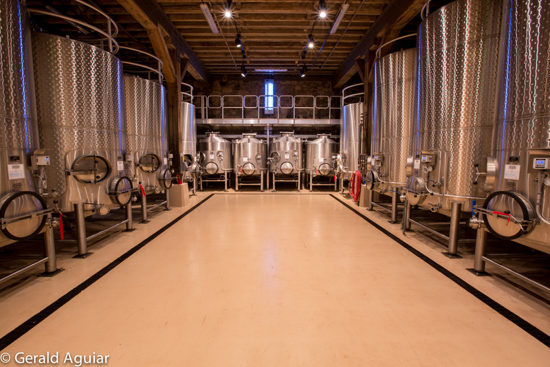 Stainless steel vats used in the wine making process at the Chateau.