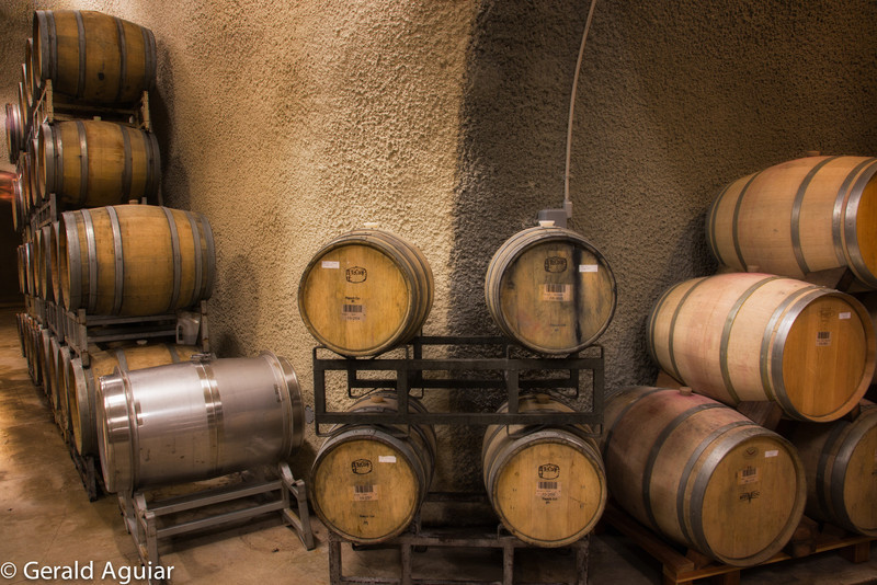 Wine barrels beneath the Chateau burrowed into the mountainside.  The tour guide told us it costs $10,000 per foot to dig out these caves for storing the wine.