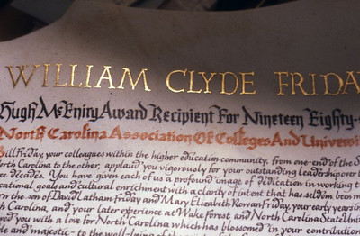 This is a detail of the William Clyde Friday citation. You can see how brilliant the burnished gold is even in muted light.