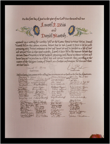 Hand-Lettered<br /> Marriage Certificate