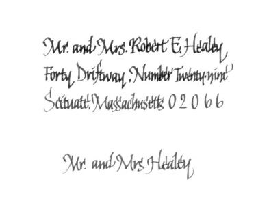Sample Envelope Lettering