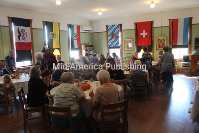 Visitors gather for lunch during Oktoberfest at the museum as visitors checked out displays and enjoyed German food.