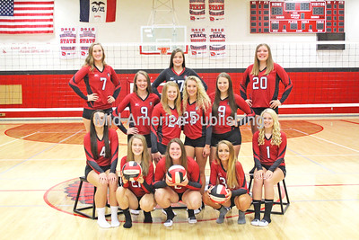 TV Volleyball Pictured are (front row, l-r): Breanna Busta, Rachelle Smith, Jordan Lukes, Avery Reicks and Christine Kuhn; second row: Addyson Einwalter, Katlyn Baumler, Jayden Winter, Karissa Schmidt, Reese Manderfield and Megan Kueker and back: Lindsey Jackson. Photo by Michael Hohenbrink