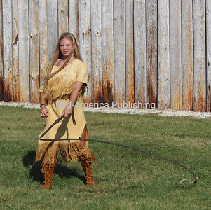 Joelle Grubbs shows off her skills with a whip.