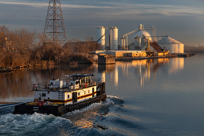 Calumet River at sunrise, east of the Torrance Avenue bridge with Cargill facility on the north bank. 11/26/19