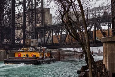 Calumet River barge and towboat crossing under the Norfolk Southern railroad bridge. 3/28/20