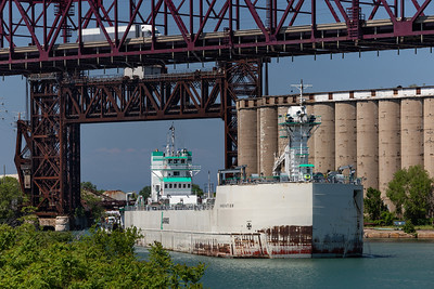 Calumet River from 100th Street Bridge looking north. LaFarge ship heading up river to 130th. Street. 6/12/20