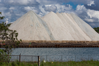 Road salt piles on the east bank of the Calumet River, south of the 100th Street bridge. 6/24/19