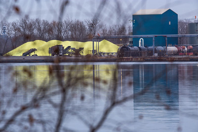 Sulfer piles on the Calumet River, east of Torrence Avenue bridge, south bank. 11/25/18