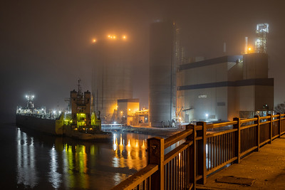Lafarge cement barge at plant on the Calumet River east of the 130th Street Bridge. Shot from bridge. 12/14/19